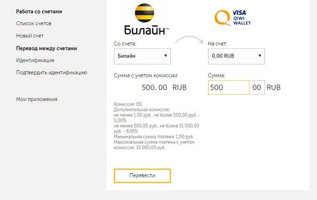 Перевод денег со счета Билайн на Qiwi-кошелек - инструкция